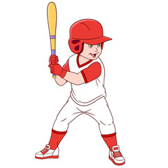 cute and happy cartoon boy batter with a bat playing baseball