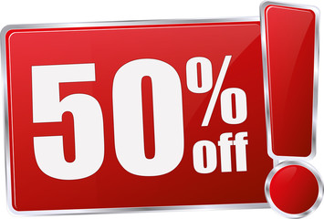 modern red 50% discount vector sign in red with metallic border and a exclamation mark