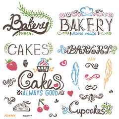 Collection of handwritten vintage retro bakery logo labels. Vect