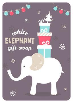 White Elephant Gift Exchange Illustration