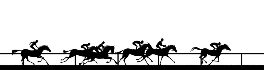 Fototapeta horse racing silhouette
