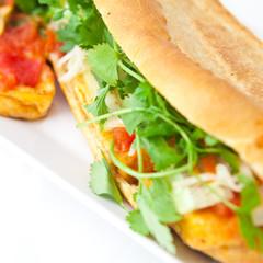 tofu banh mi vietnamese baguette with coriander