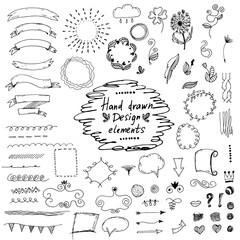 Set of hand drawn design elements:ornaments,floral.Vector