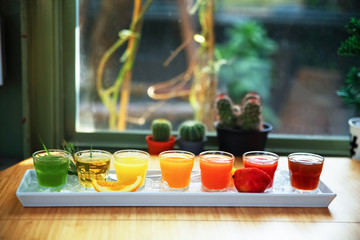 fresh fruit juice drink desert for a healthy diet background