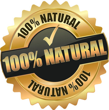 golden shiny vintage 100% natural 3D vector icon seal sign button shield star with checkmark