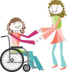 handicap, fauteuil roulant et ré-éducation