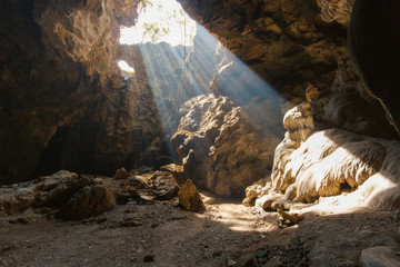 Sun beam in cave at Khao Luang, Phetchaburi Province, Thailand