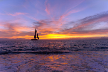 Wall Mural - Sailboat Sunset Silhouette