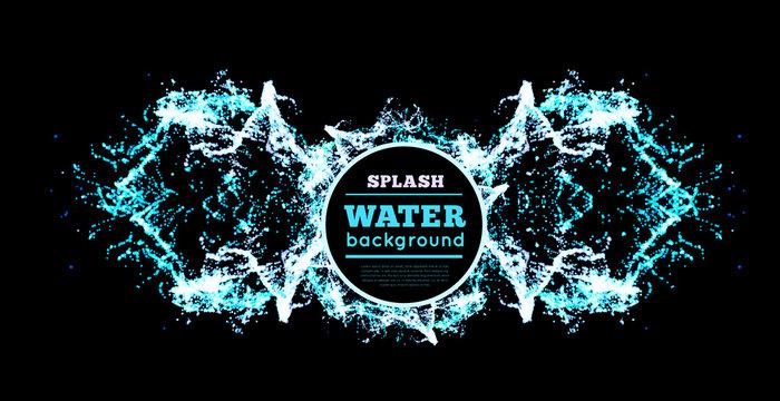 Blue water splash isolated on black