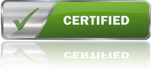 CERTIFIED / realistic modern glossy 3D vector eps banner in green with metallic border and checkmark