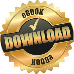 golden shiny vintage ebook download 3D vector icon seal sign button shield star with checkmark