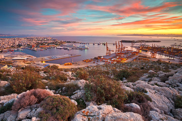 View of Piraeus harbour in Athens from the foothills of Aegaleo mountains