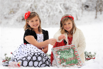 Merry Christmas Children in Snow