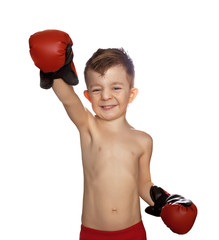 boy in boxing gloves isolated on white