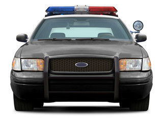 Police ford crown victoria front view isolated on white background.