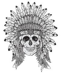 Hand drawn vector illustration of Indian headdress with skull