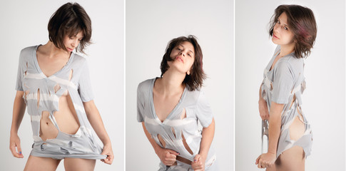 Triptych of Woman Ripping Her Top Wall mural