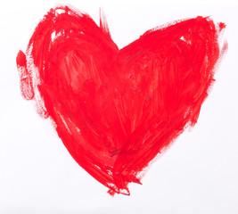 Нарисованное красное сердце
