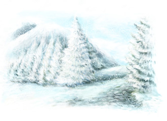 Cartoon winter scene in the mountains - painted - illustration for the children