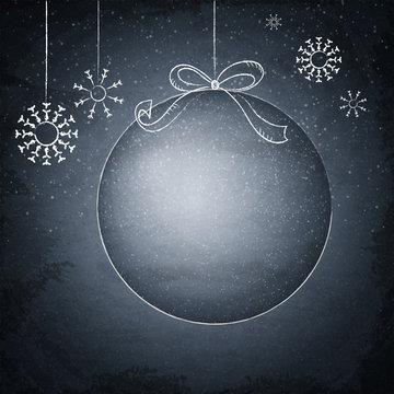Christmas drawing ball on the blackboard background