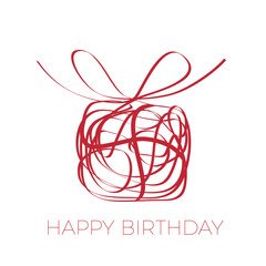 A gift for your happy birthday. Vector scrawl of box with bow