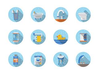 Bathroom and hygiene round flat icons