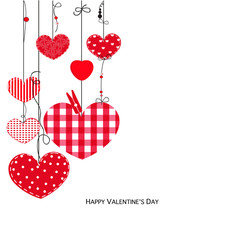 Happy Valentine Day card with hanging love hearts