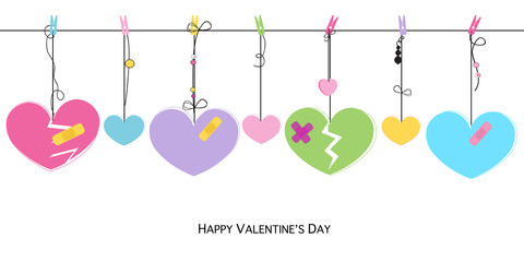 Happy Valentines Day card with hanging broken hearts vector greeting card
