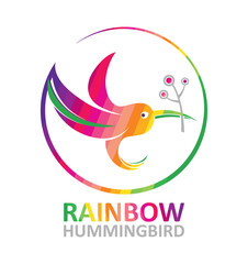 Rainbow hummingbird - vector illustration.