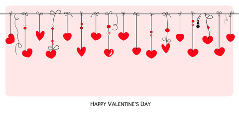 Happy Valentines Day card with hanging hearts vector background