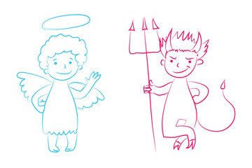 Angel and devil vector illustration - boys cartoon character. Hand drawn graphic clip art. Childish style drawing. Sketchy funny angel, cute little devil. Outline. Isolated. Eps 10.