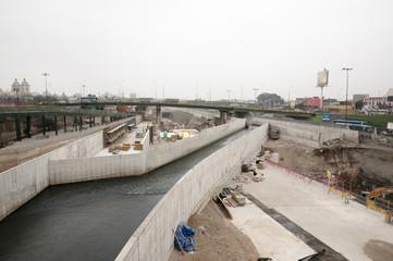 Construction in Rimac River - Lima - Peru