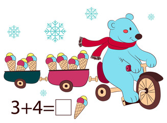 polar bear on bike and ice cream, kids layout for game. Vector illustration.