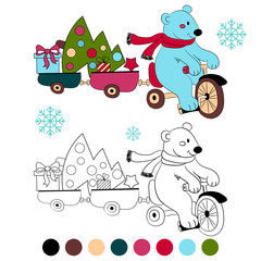 Coloring book polar bear on bike with new year tree and gifts , kids layout for game . Vector illustration.
