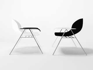 two chairs on the white background,
