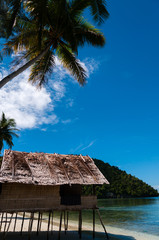 Lonely Nipa Hut on stilts at a Beautiful  Beach in front of the ocean