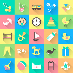 Set of colorful baby items with shadows. Vector illustration