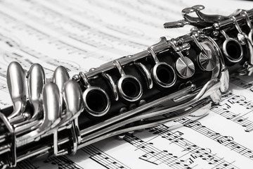 Clarinet over the page with notes