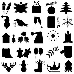set of 25 black simple of New Year icons