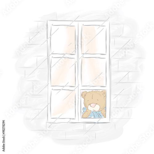 Honey Bear Is Sad At The Window . Bored Bear. I Miss You. Teddy