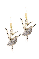 Gold earrings in the form of a ballerina   inlaid with  gemstone