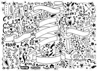 Hand drawn set of design vintage elements