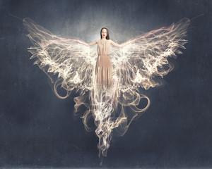 Angel girl flying high