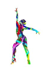 abstract silhouette of dancer on white background