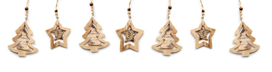beautiful wooden Christmas toys on a white background