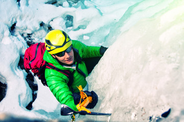 Climbing an icefall