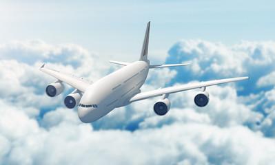 Aereo vola su nuvole cielo