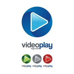 Video Play Logo Icon, 3D Circle Design Illustration