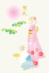 申年の年賀デザイン 袴姿の猿と振袖の女の子