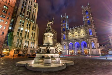 Place D'Armes at Night - Montreal, Canada